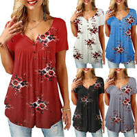 Women Short Sleeve V-neck T-shirt Floral Printed Loose Tops Summer Casual Blouse