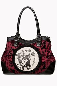 Burgundy Phoenix Cat Kitty Flocked Floral Rockabilly Gothic Bag BANNED Apparel