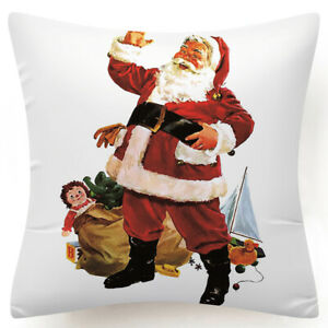 """Throw PILLOW COVER Christmas Red White Xmas Double-Sided Cushion Case 18x18"""" USA"""