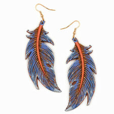 Blue Feather Shaped Leather Earrings w/Bronze Accents
