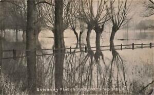 Early SUNBURY 1907 Floods  Bathing Field Middlesex  Photo Postcard