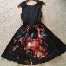 STUNNING Ted Baker Designer Puff Prom Party Occasion Floral Black Dress Size 0-6