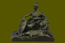 Roman Goddess Prosperity Lady Luck Fortuna 100% Real Bronze Statue Sculpture Art