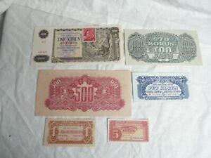 CZECHOSLOVAKIA  1940's SPECIMEN BANKNOTES x 6