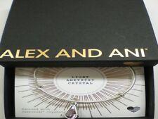 Alex and Ani June Amethyst Charm Bangle Bracelet Teardrop Raf Silver NWTBC