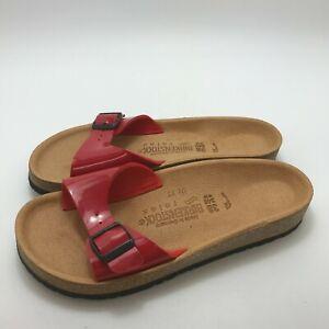 New Birkenstock Slider Sandals UK 5 EU 38 Women's Red Patent One Strap 521524