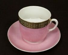 Porcelain Mustache Cup and Saucer Pink and Gold Antique