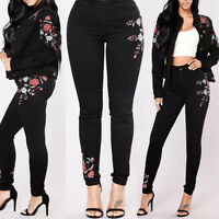 Women's Floral High Waist Pencil Jeans Trousers Ladies Embroidered Denim Pants