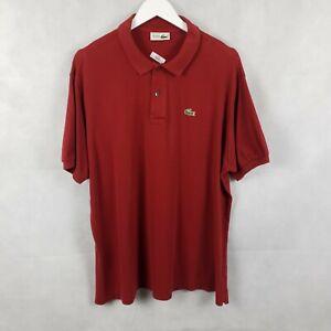 CHEMISE LACOSTE VTG 90s Mens Short Sleeve Dark Red Polo Shirt Devanlay Sz 7 2XL