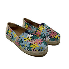 Toms Size Youth 5 Floral Espadrille Flats Slip-on Casual Boho Pastel Multi