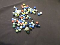 100 MIXED ASSORTMENT Game Marbles shooter red blue yellow orange glass swirl lot