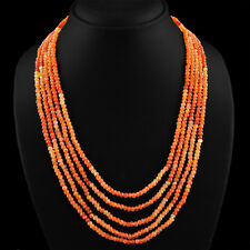 RARE 280.60 CTS NATURAL RICH ORANGE CARNELIAN 5 LINE FACETED BEADS NECKLACE