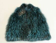 Gorski Women's Silver Fox Vest with Tunnel Belt GG8 Emerald Medium NWT $2,995