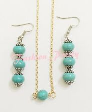 TRENDY THREE STONE TURQUOISE DROP DANGLE EARRINGS WITH FREE TURQUOISE NECKLACE