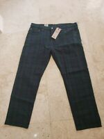 LEVI'S JEANS MEN'S REGULAR FIT 502 TAPERED GREEN NAVY PLAID JEANS 31X30 $69 NWT