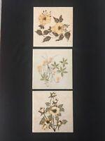 LOT OF 3 Mid Century Modern Porcelain Tiles; Flowers