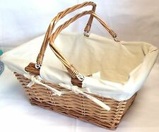 Natural Lined Wooden Twisted Wicker Basket With Handles Picnic Basket Shopping