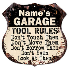 BP0736 Name's GARAGE TOOL RULES Custom Personalized Rustic Tin Sign Funny Gift