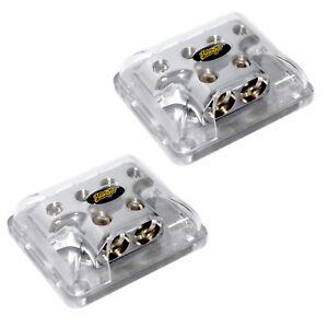 Two 2 Stinger 0 Gauge to 4 Gauge Power Ground Amp Wire Distribution Block SPD514