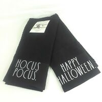 Rae Dunn Hocus Pocus Happy Halloween Kitchen Towels Black Cotton Farm Decor *^F