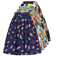 Women's Vintage 40s 50s STYLE Skater Pleated Midi Circle Pinup Swing Skirt Dress