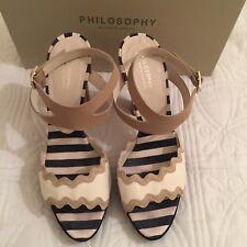 PHILOSOPHY BY ALBERTA FERRETTI White Navy Beige Shoes Sandals Heels Size 40 7UK