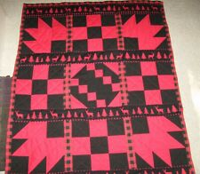 """Handmade Patchwork Lodge Quilt, Red/, lack, 51"""" x 41"""", Maple, Deer"""