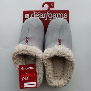 Dearfoams Comfortable Perfect Pair Cushioning Slippers Small US 5-6 Silver White