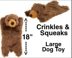 Top Paw REALISTIC BROWN BEAR FLATTIE Large 18 inch Soft Dog Toy - Crinkles