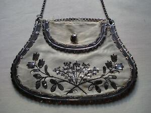 antique Regency cut steel reticule bag Jane Austen (flaws) Biedermeier Täschchen