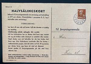 1945 Lierskogen Norway Postal Stationery Parcel Receipt Card cover Local