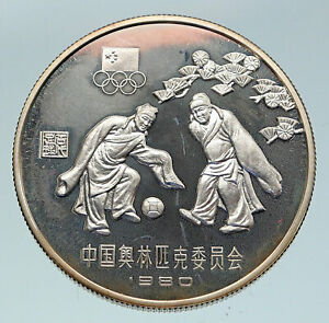 1980 CHINA Moscow Russia Olympics Soccer Football Proof Silver 30 Yu Coin i86419