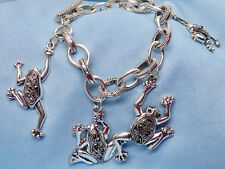 """Silver Plated Frog Marcasite Bracelet, 7.5"""", Toggle Clasp, Good Condition"""