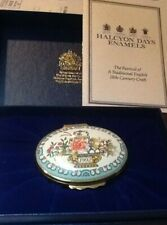 Halcyon Days 1992 The Year to Remember Porcelain Enamel Trinket Pill Box Flowers