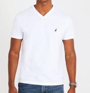 Nautica Mens  T-Shirt 100% Cotton Solid Bright White V-Neck Size L