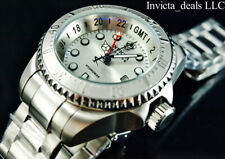 NEW Invicta 52mm Reserve SKULL Hydromax Swiss Movement GMT Silver Dial SS Watch