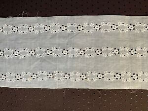 Antique French Edwardian Handmade embroidered Insertion 116cm by 11.5cm