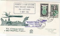 Rep. France 1961 Paris-Hamburg 1st Flight LH 145 Airmail Stamps Cover Ref 29379