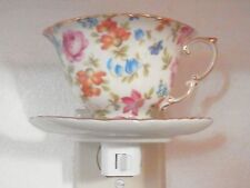 Assorted Flowers Hand Painted Decorator Porcelain Tea Cup and Saucer Night Light
