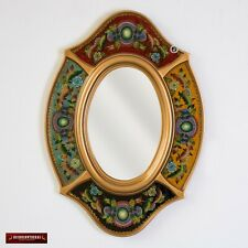 Decorative Oval wall Mirror with gold color wood frame, Peruvian Accent Mirrors