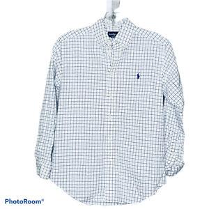 Ralph Lauren Boy's White Blue Checkered Collared Oxford Shirt Size Medium 10-12