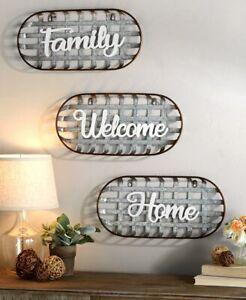 Metal Country Farmhouse Basket Sentiment Wall Decor in Welcome Family or Home
