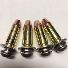 9mm Hollow Point Bullet 4 Harley License Plate Bolts Screws BIKE-AMMO