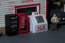 3 vending Machines ICE Chest Soda Pop and Candy Chips HO SCALE