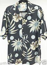 Paradise by Axis Mens Large Black Floral Print Silk Short Sleeve Camp Shirt