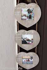 Cadre photo suspension triptyque corde décoration coeurs Vide Neuf port=0€