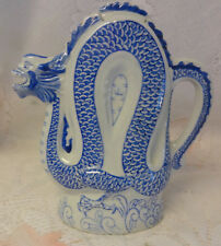 Old Chinese Dragon Statue Figural Tea Pot White & Blue