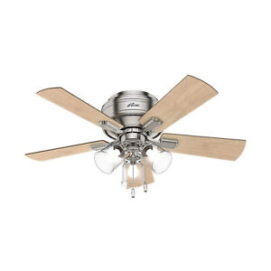 Hunter Crestfield 42 Inch Low Profile Ceiling Fan with LED Light, Brushed Nickel