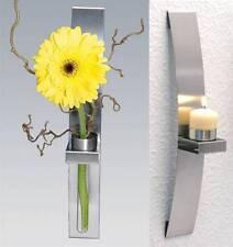 Wandteelichthalter Wand-Kerzenhalter Wandleuchter inkl.2 Blumenhalter 2er Set