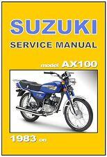 SUZUKI Workshop Manual AX100 1983 1984 1985 1986 1987 1988 1989 Service Repair